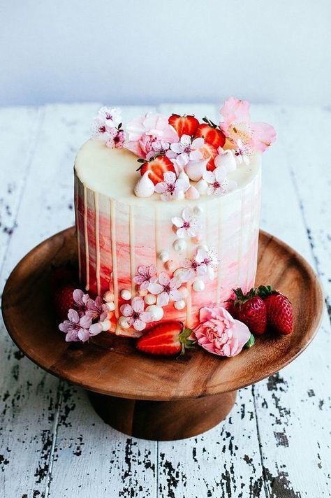 cake, strawberry, and flowers image