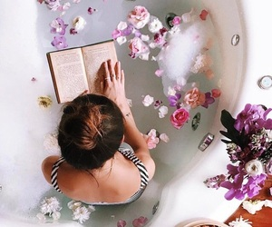 flowers, bath, and book image