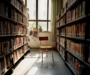 book, library, and chair image