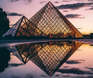 paris, louvre, and sunset image