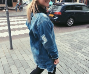 blonde girl, denim, and fashion image