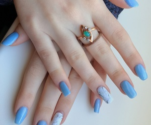 blue, marble nails, and marble image