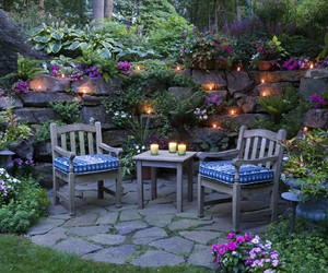 light, garden, and flowers image