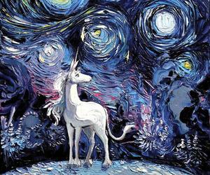 unicorn, art, and van gogh image