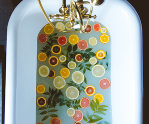 bath, fruit, and lemon image