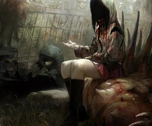 blood, dark, and girl image