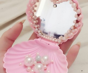 pink, mirror, and pearls image