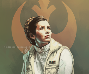 carrie fisher, digital painting, and fanart image