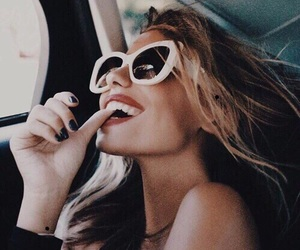 girl, sunglasses, and smile image