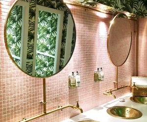 pink, bathroom, and interior image