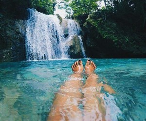 waterfall, beach, and girl image