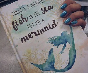 blue, book, and mermaid image