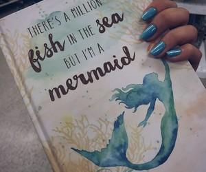 blue, mermaid, and sea image