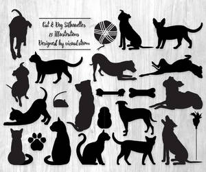 cat and dog, pet lovers, and animal silhouette image