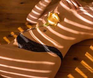 black underwear, flower, and skin image