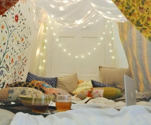 blanket, fort, and lights image