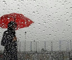 red umbrella, raining day, and afternoon image