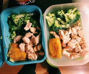broccoli, Chicken, and fitness image