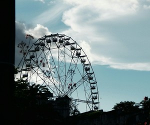 clouds, ferris wheel, and sky image