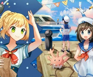 lillie, moon, and pokemon image