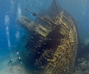 boat, wreck, and fish image
