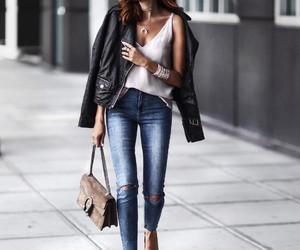 chic, jacket, and leather image