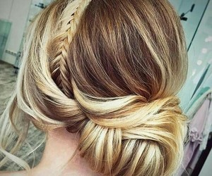blond hair, hairstyle, and wedding image