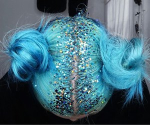 hair, glitter, and blue image
