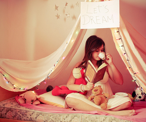 Dream, girl, and book image