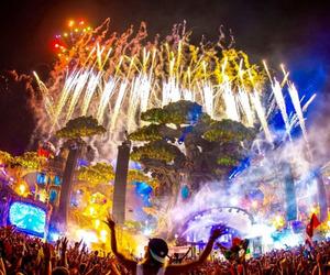 fireworks, music festival, and edm image