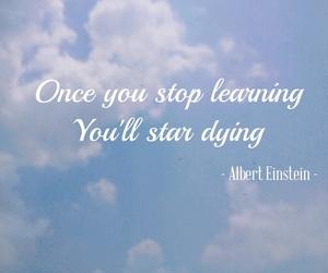 Albert Einstein, blue sky, and feel image