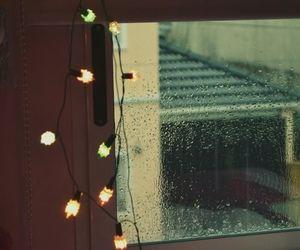 lights, rain, and window image
