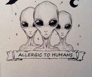 alien, humans, and art image