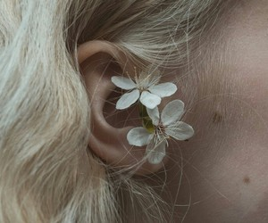 ear, flowers, and hair image