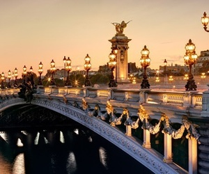 bridge, lights, and paris image