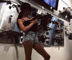 girl, maggie lindemann, and gun image