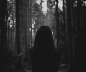 black and white, forest, and girl image