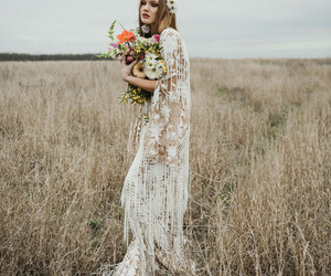barefoot, hippie, and dress image
