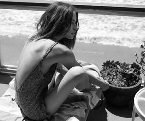 beach, blackandwhite, and sitting image