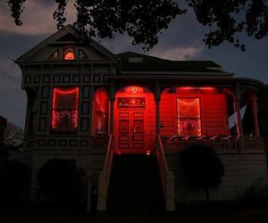red, house, and night image