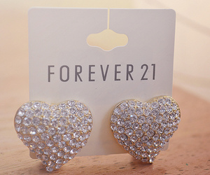 forever 21, earrings, and heart image