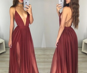 maroon, outfit, and dress image