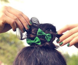 hair, green, and bow image