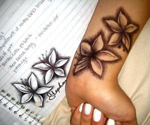 flower, girl, and tattoo image