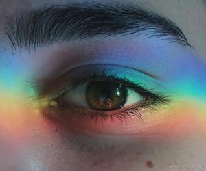 rainbow, eye, and eyebrows image