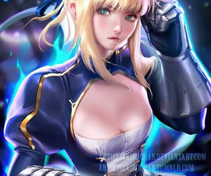 anime, saber, and art image