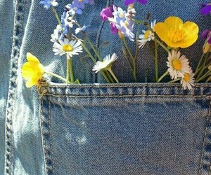 denim, flowers, and jeans image