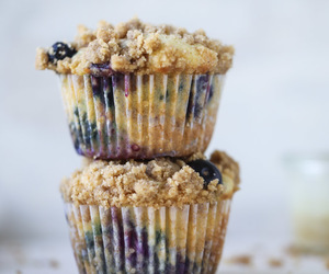 blueberry, food, and muffins image