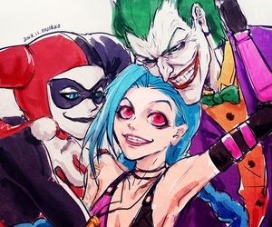 harley quinn, jinx, and joker image