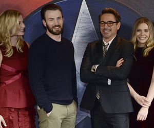 chris evans, elizabeth olsen, and captain america image